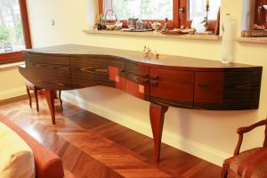 made of plywood covered with exotic veneers flexible