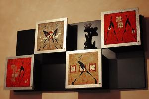 Wall-hung cabinet, reproductions coated with polyurethane lacquer