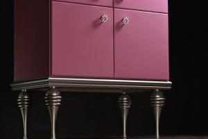 High chiffonier,  turned legs, milled slats covered with silver metallic, available in other colours